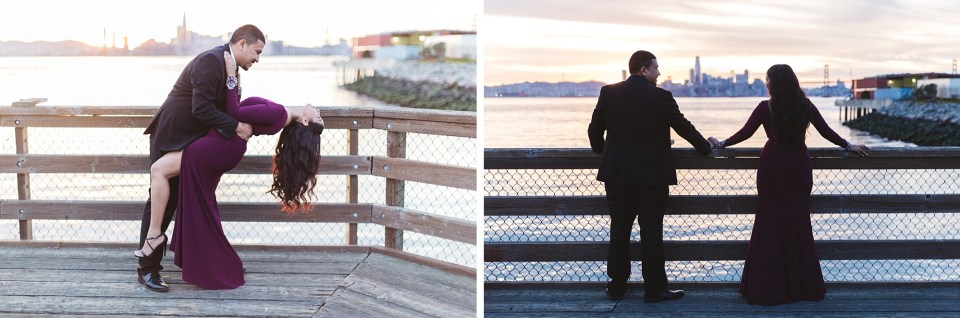 sunset photography with engaged couple looking out over san francisco