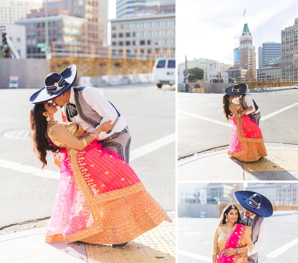 engaged couple dipping and kissing in urban location