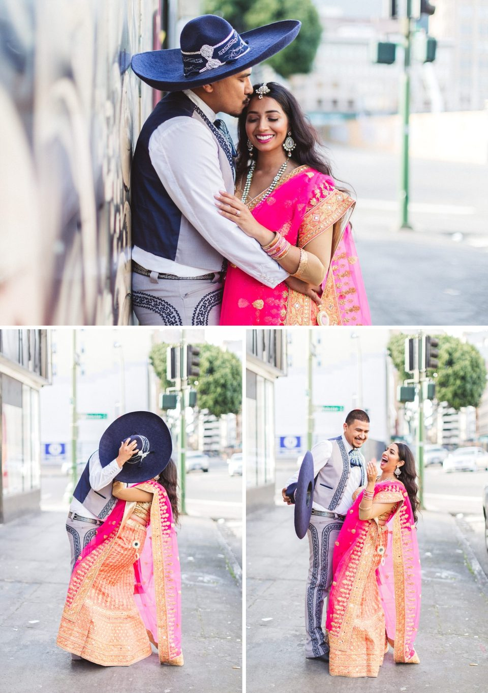 couple in cultural dress in oakland engagement photoshoot