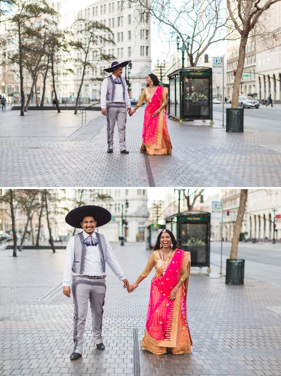 engaged couple walking down street in downtown oakland photoshoot