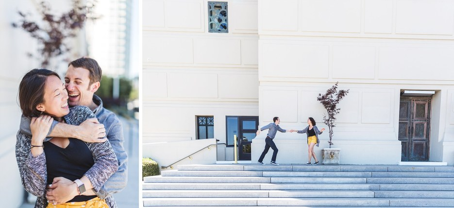 oakland couple in fun engagement photography session by lake merritt