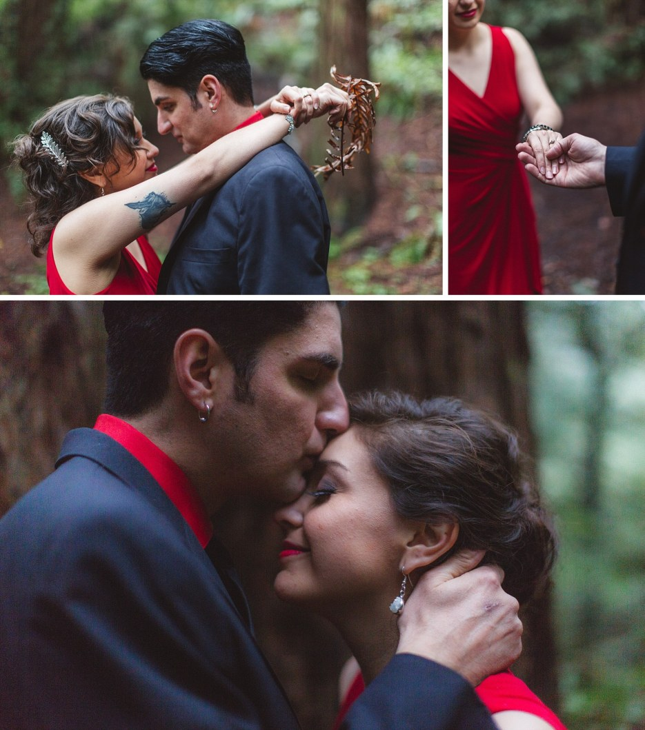 collage of engaged oakland couple kissing among redwoods