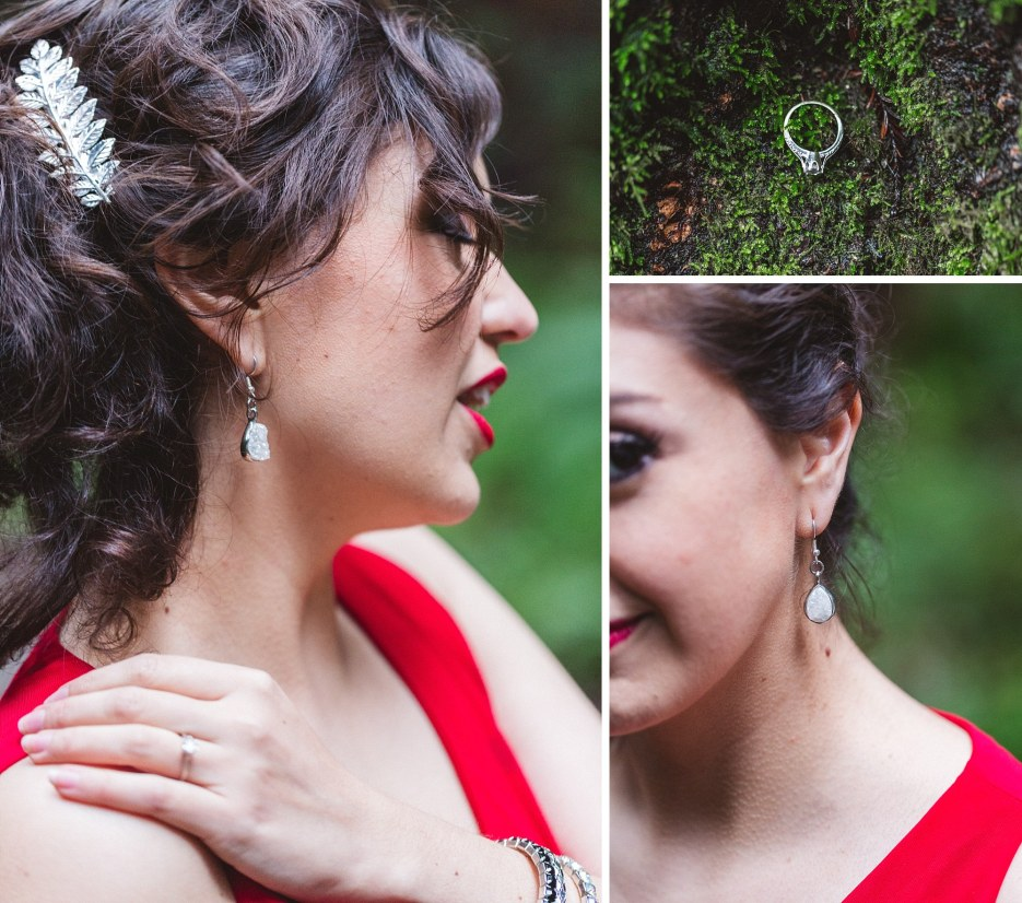 handmade jewelry details at redwood engagement session