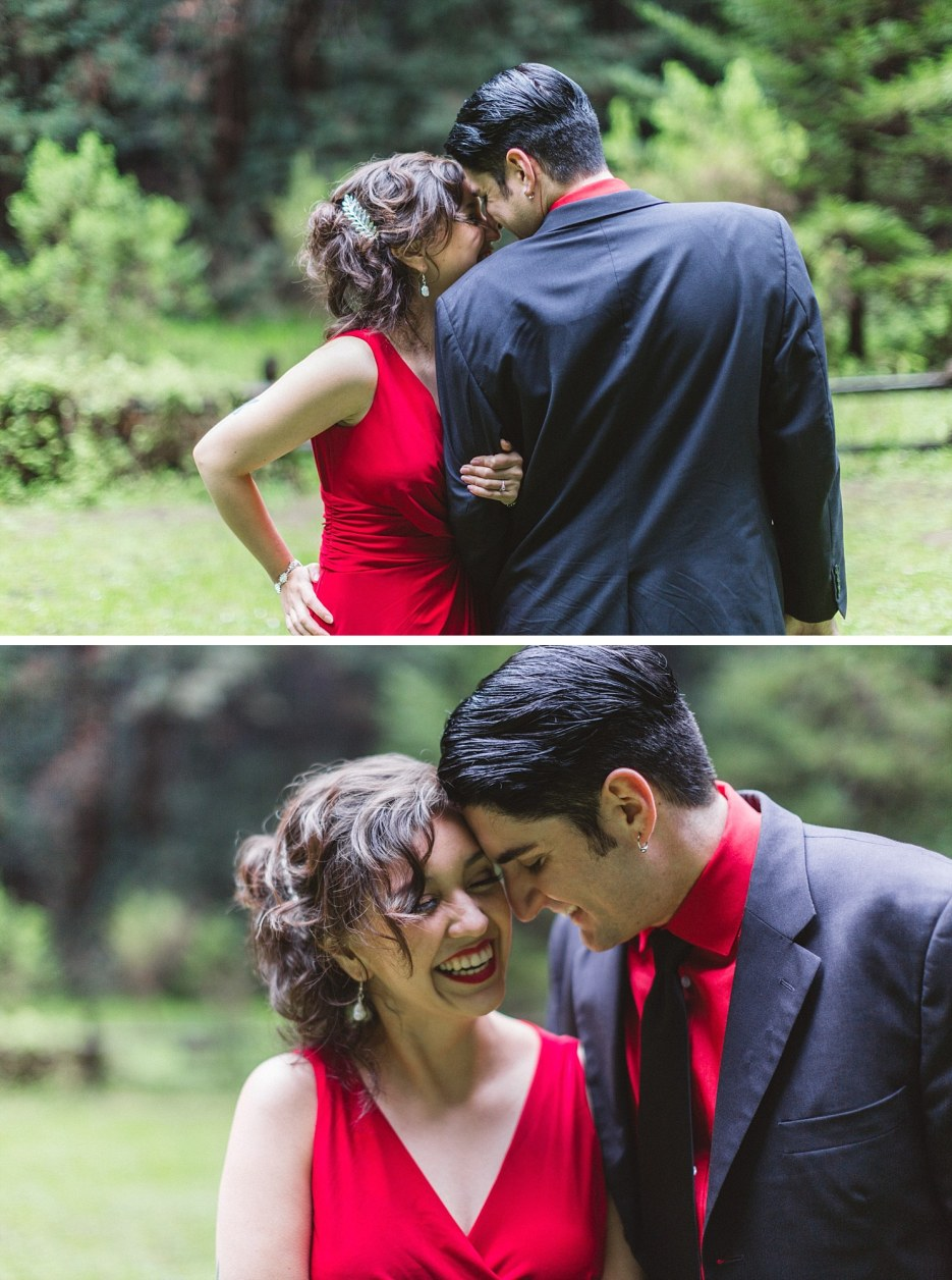 engaged couple in love at redwood forest engagement shoot
