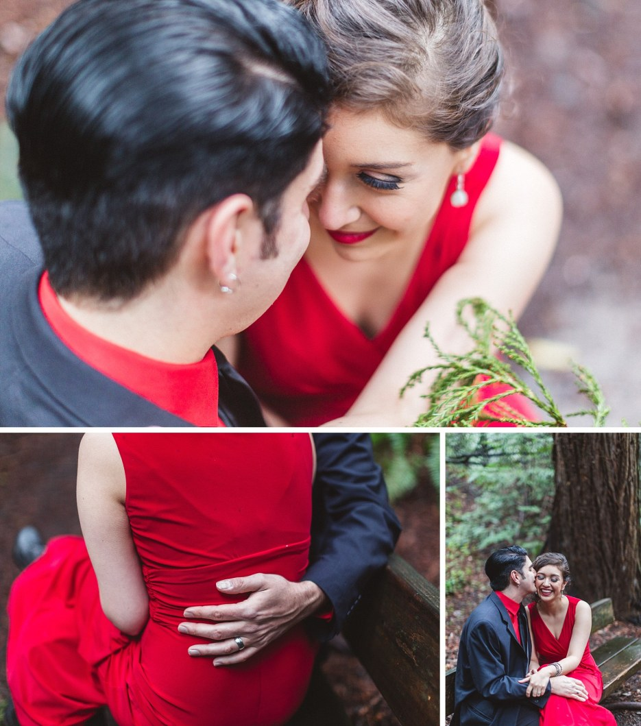 redwood themed engagement shoot details of couple in love