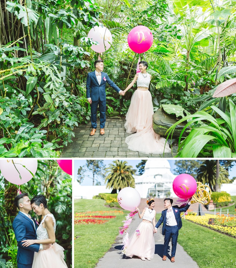 wedding couple with pink balloons at sf conservatory of flowers