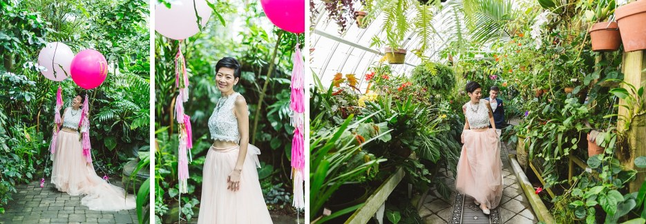 married couple with pink balloons in conservatory