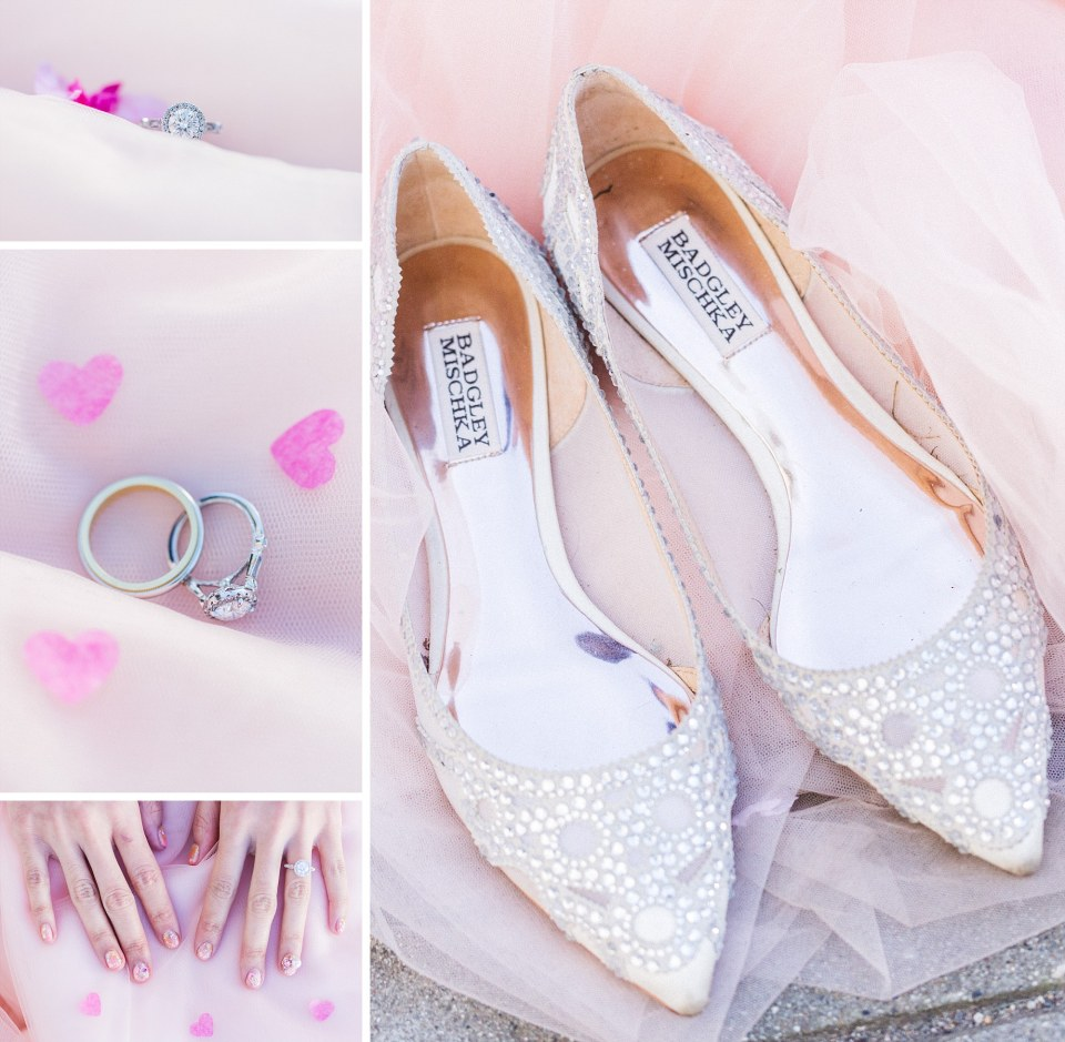pastel pink bridal details collage