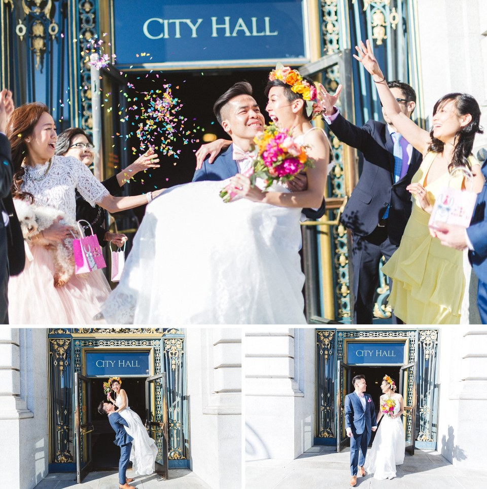 bride being carried out of san francisco city hall by groom with confetti