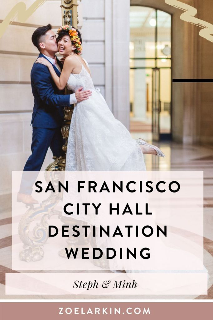San Francisco City Hall wedding inspo! This destination wedding couple came up from Southern California to celebrate their quietly epic nuptials in style. With a fun vibe to their San Francisco City Hall wedding ceremony (with their maltipoo attending!), they continued the theme with photos at Strawberry Hill, Golden Gate Park and the San Francisco Conservatory of Flowers. So much fun for this Vietnamese-American City Hall couple! #sanfranciscocityhallwedding #sfcityhall | Zoe Larkin Photography