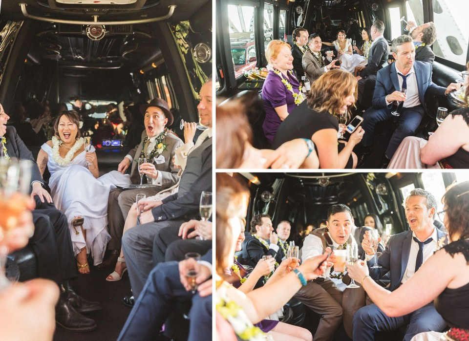 san Francisco wedding couple drinking in back of limo after city hall wedding