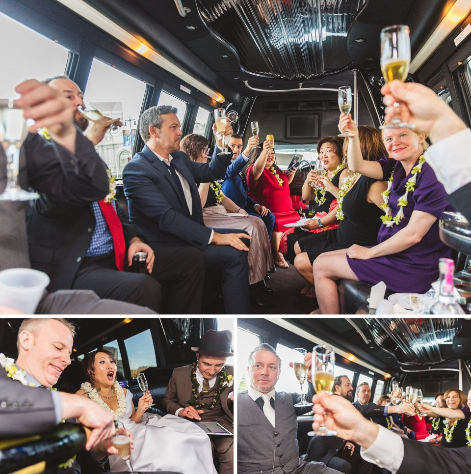 collage of wedding group drinking champagne in limo