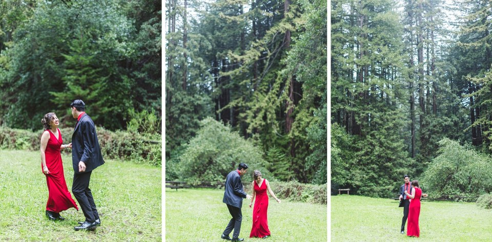 collage of dancing couple in redwood forest
