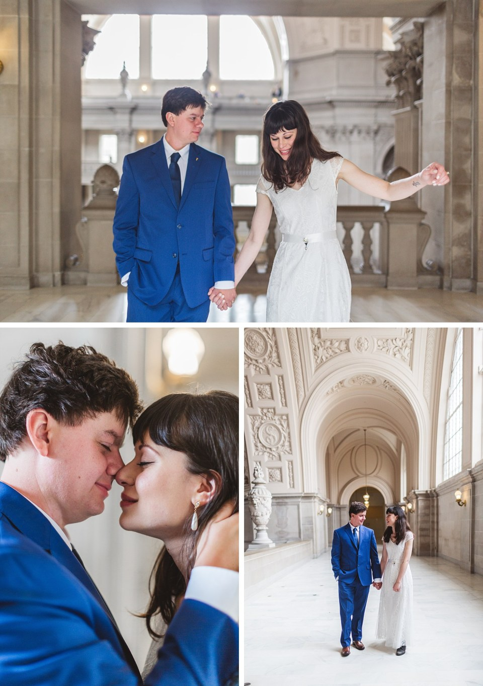 Candid city hall photos showing couple's portraits immediately after ceremony