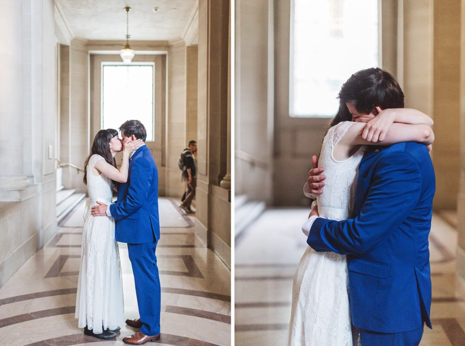 impromptu kissing couple at san francisco city hall on wedding day