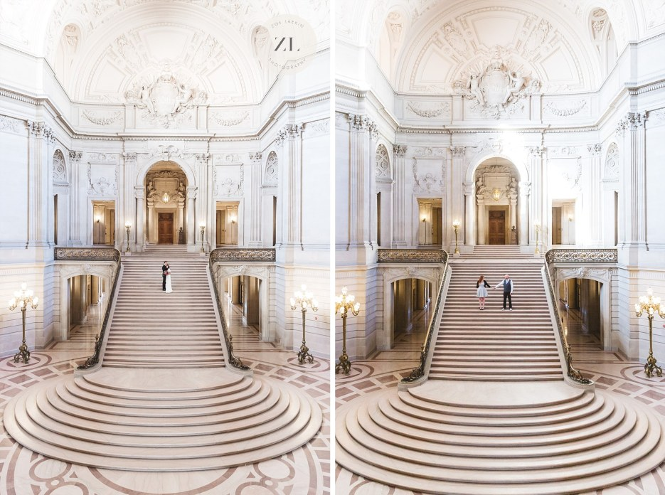 two images showing couples on the grand staircase of city hall