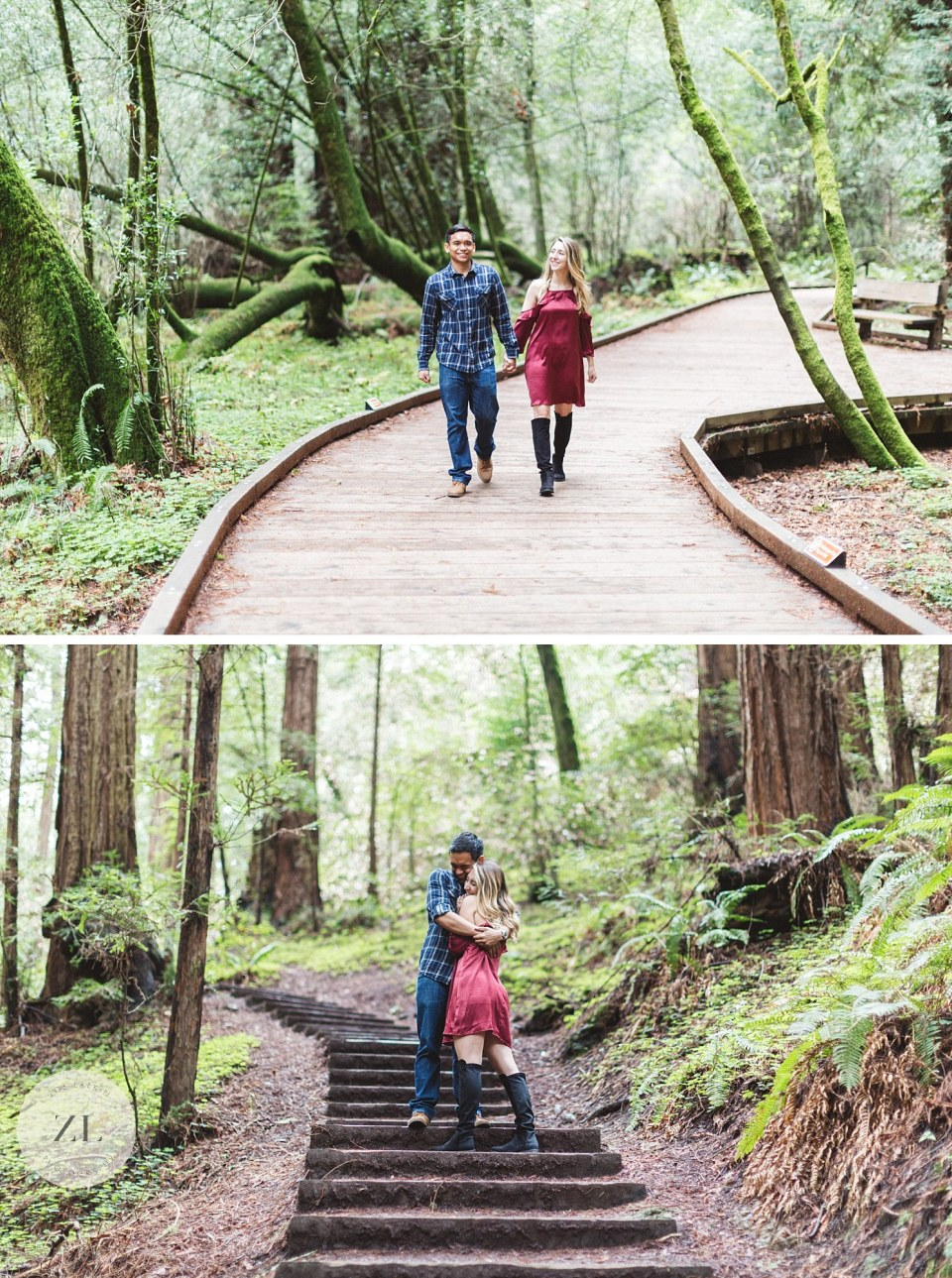 engaged couple in elegant clothes posing among redwoods