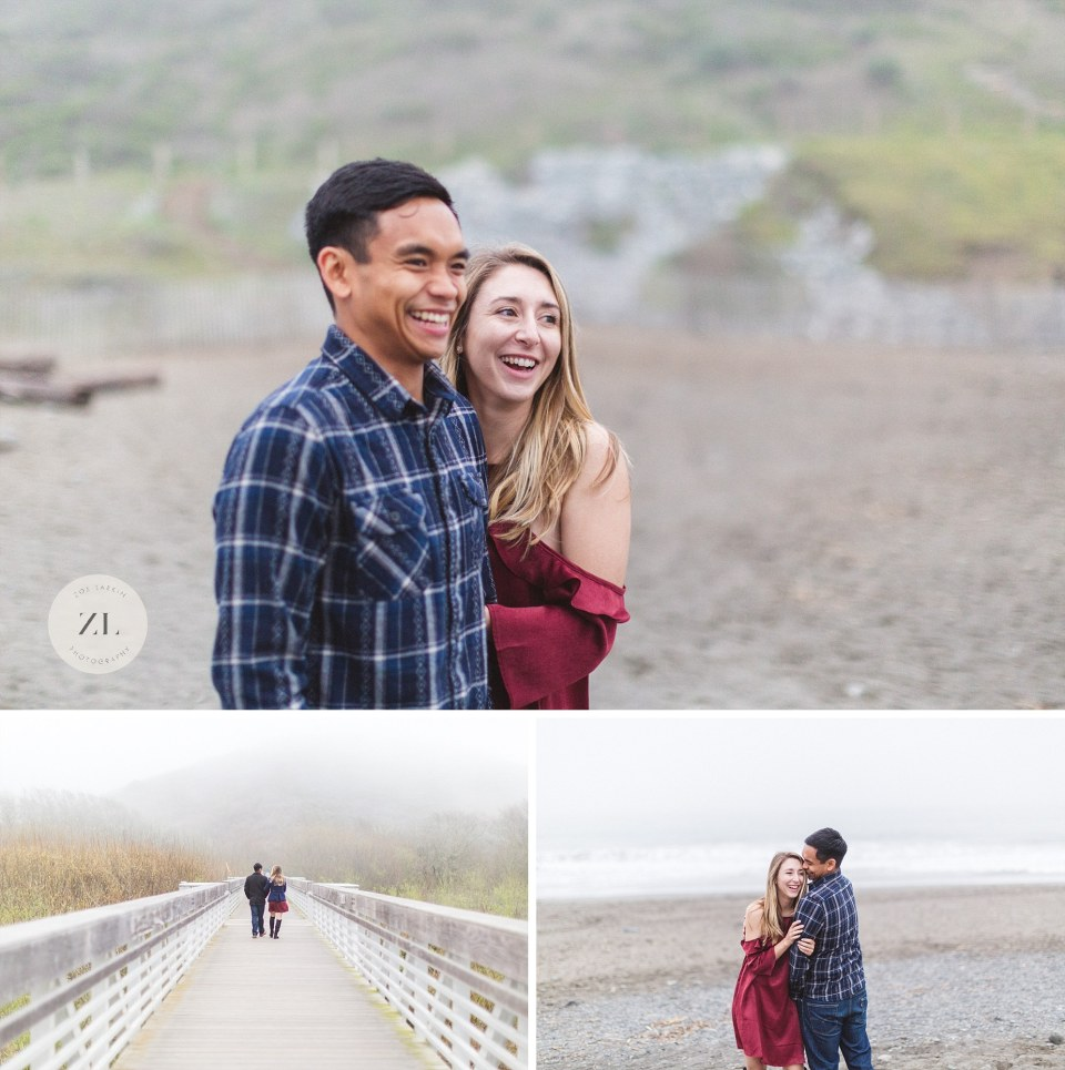 foggy engagement at muir beach with engaged couple smiling and posing
