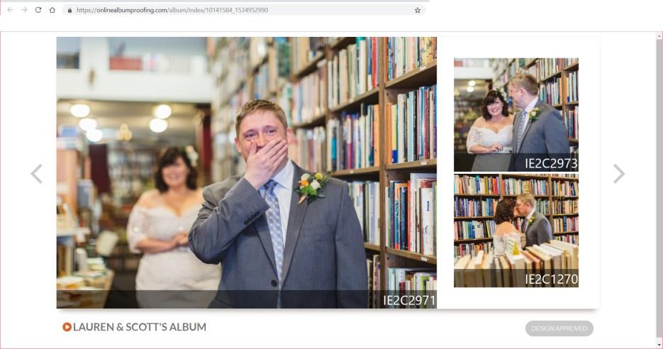 screenshot showing how to proof your wedding album online