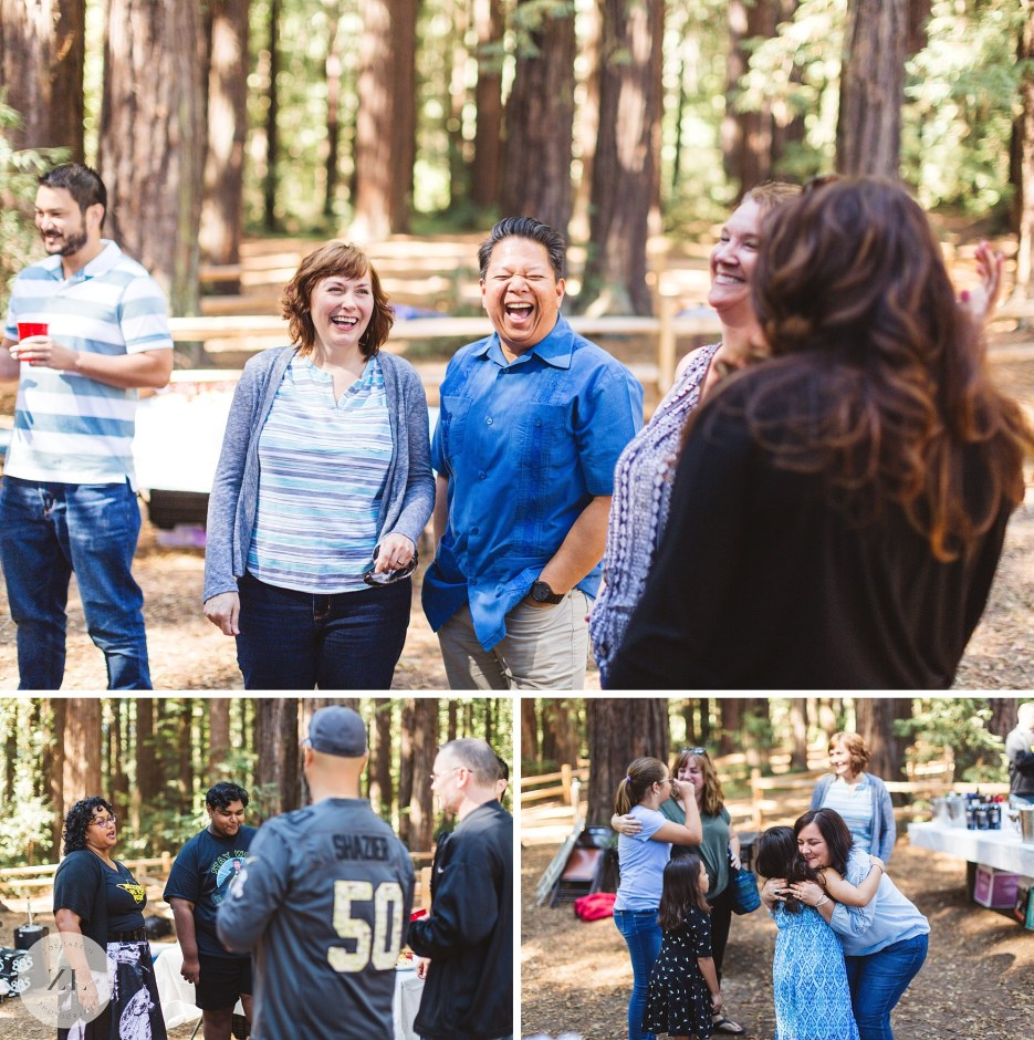 guests laughing candid photography at redwood wedding