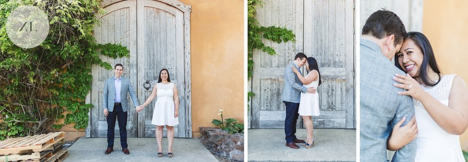 collage of napa, california winery engagement photos
