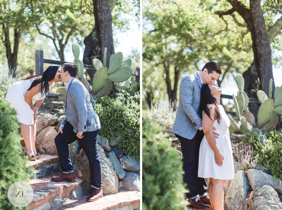 couple of steps at winery engagement shoot