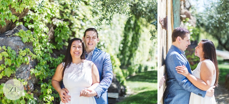 couple posing for engagement shoot at kuleto winery
