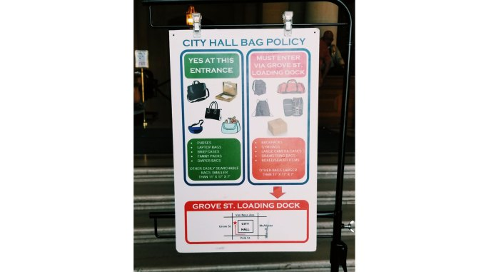 new bag rules for entering san francisco city hall
