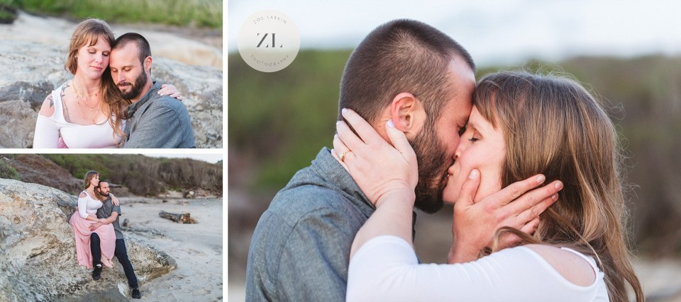 San Gregorio beach engagement photos with couple kissing| Zoe Larkin Photography