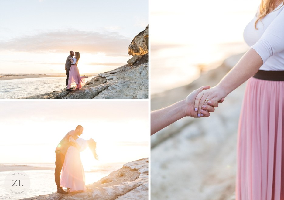 beautiful sunset engagement shoot at san gregorio state beach half moon bay
