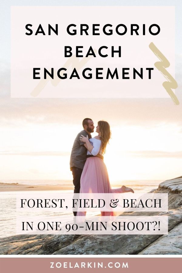 Coastal California engagement photography on the beautiful San Gregorio State Beach in the peninsula just south of Half Moon Bay Beach! This epic 90 minute shoot encomapssed locations in the San Mateo county redwoods, a pretty flower field that was blooming in March, and the stunning beach location. Get some ideas for your Bay Area engagement shoot with some beachy vibes! 🌊 #bayarea #engagement #engagementphotography | Zoe Larkin Photography