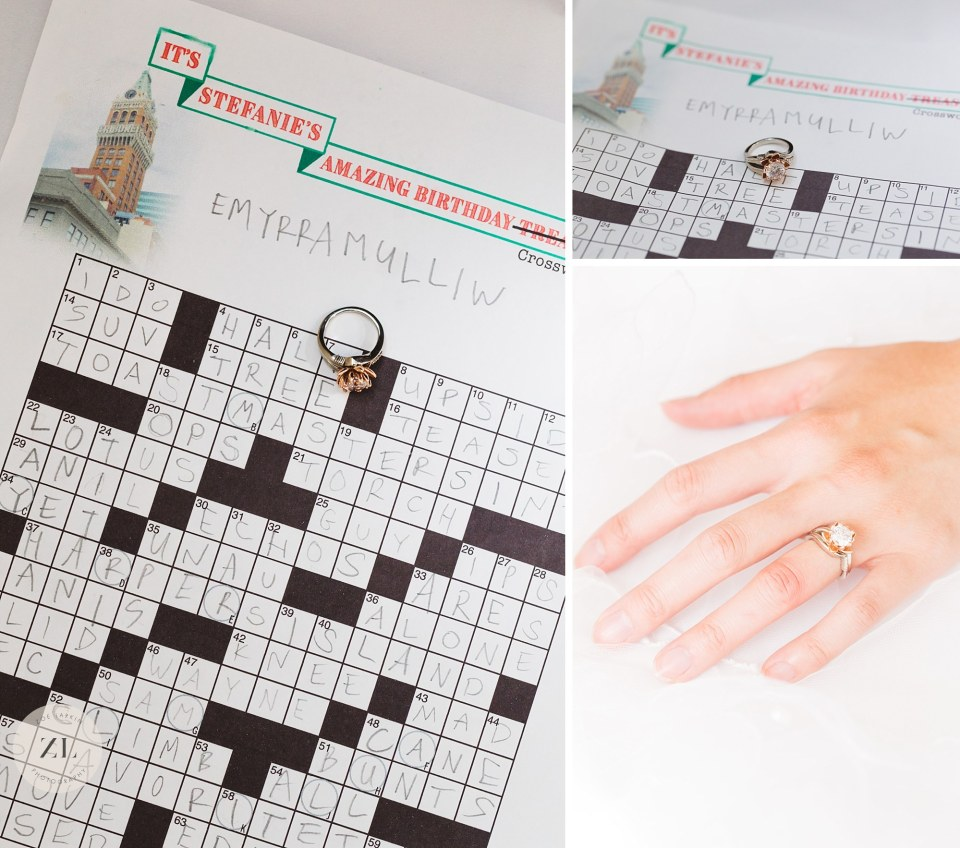 engagement ring crossword puzzle treasure hunt proposal - Bay Area proposal ideas | Zoe Larkin Photography