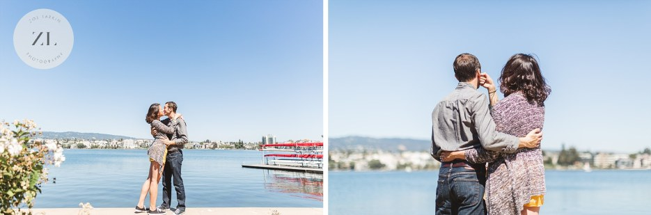 lake merritt and couple at proposal engagement shoot