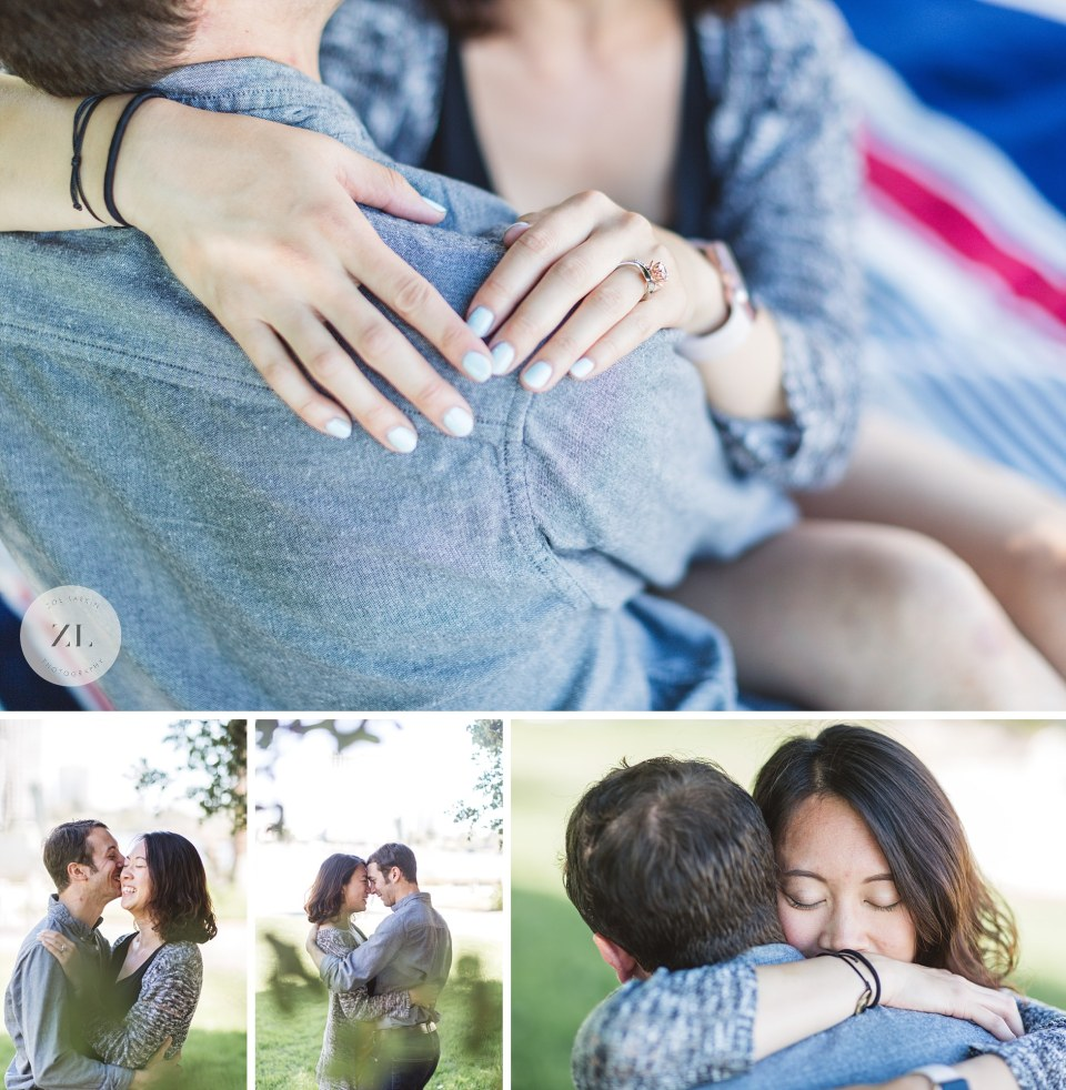 close up details of engagement ring at Bay Area proposal photography shoot