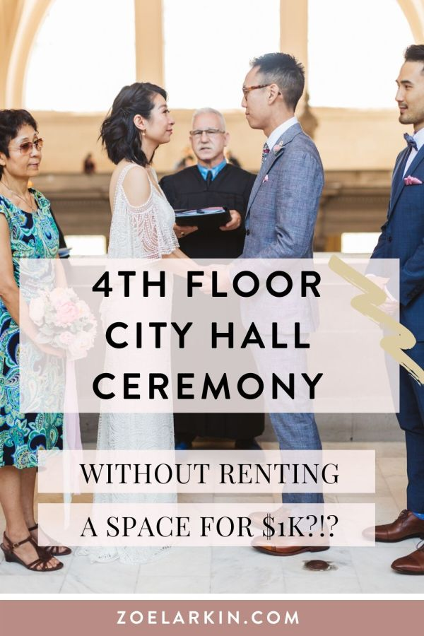 Wait, is it really possible to get married in the most beautiful part of San Francisco City Hall without renting a space?! This couple did it! Find out how they did and check out some more gorgeous photos from their 4th Floor wedding! If you're looking for a City Hall photographer look no further! | #sfcityhall #cityhallwedding | Zoe Larkin Photography