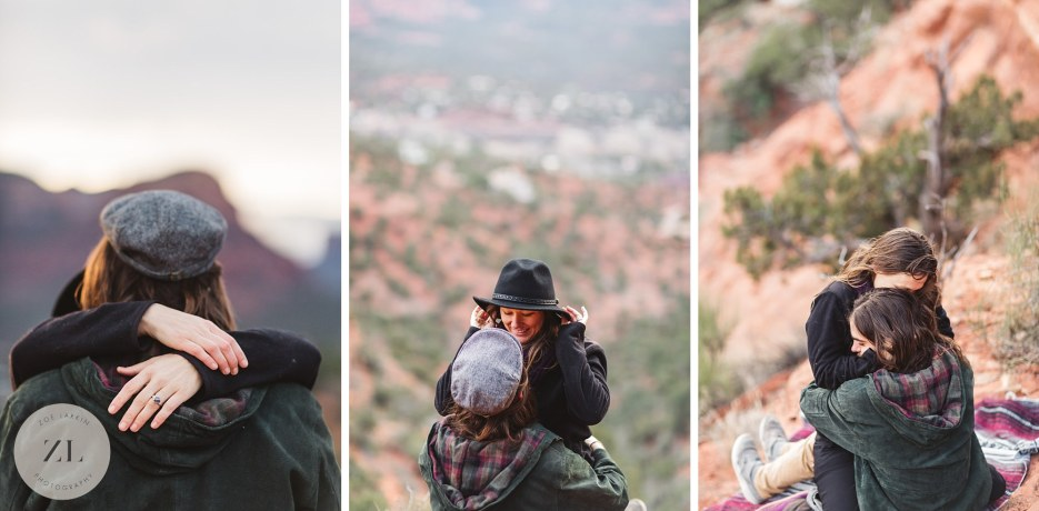 couple interacting naturally and playfully at arizona engagement photoshoot