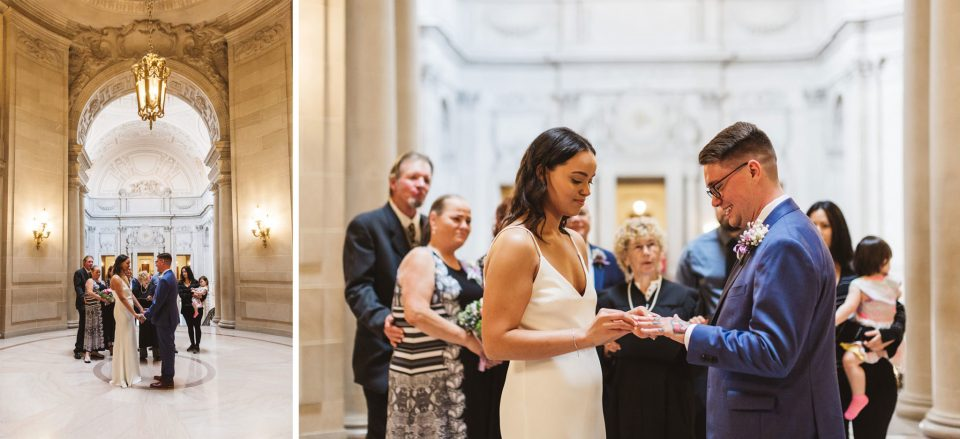 beautiful civil ceremony taking place at San Francisco City Hall. The rotunda is the spot at the top of the Grand Staircase where the majority of civil ceremonies take place | Zoe Larkin Photography