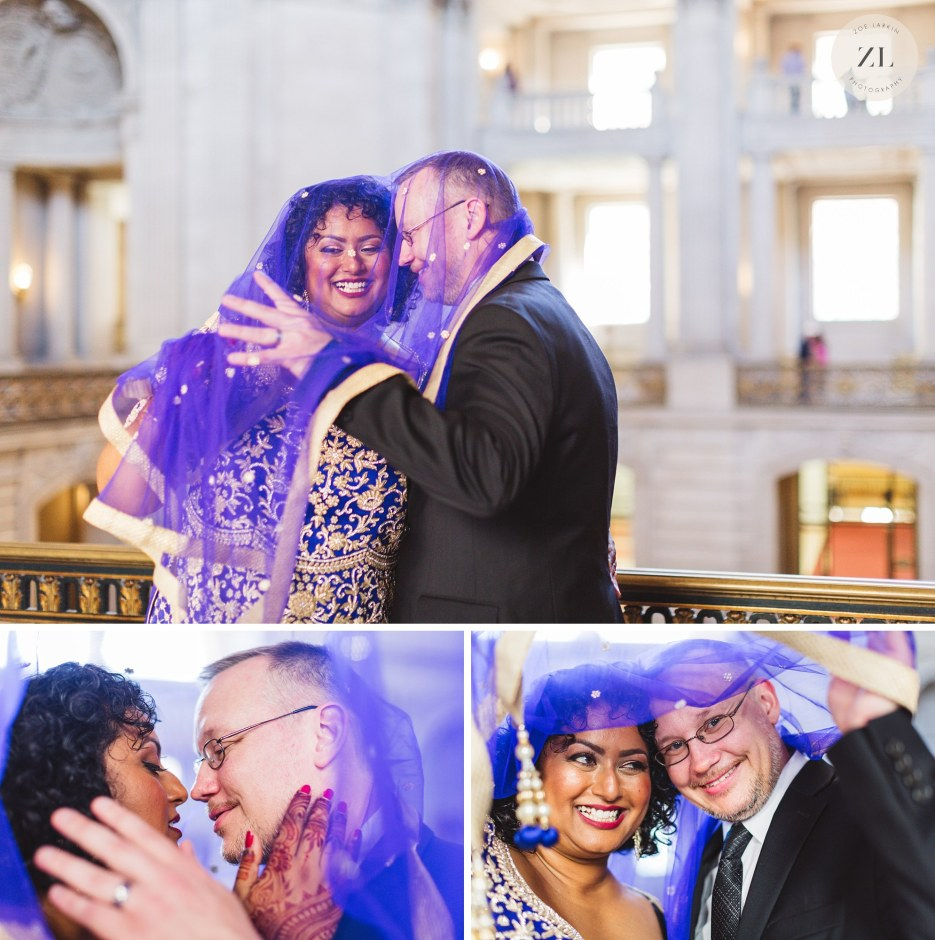 fun san francisco city hall couple getting tangled up under indian shawl