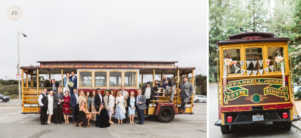Hornblower cable car is a road transportation system that works well for City Hall weddings in San Francisco!