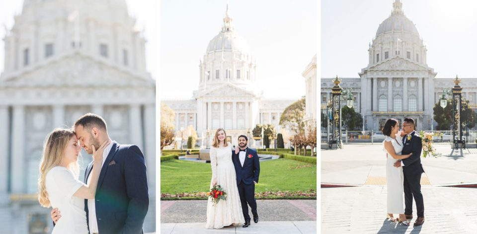 morning couple's portraits at the back of San Francisco City Hall Van Ness side by Zoe Larkin Photography