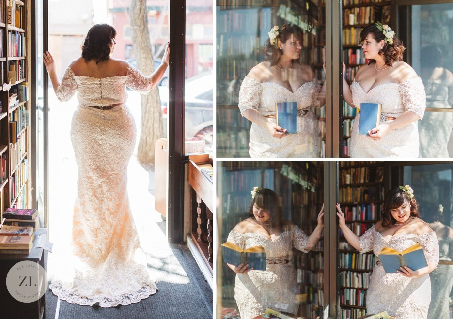 bridal portraits at intimate east bay bookstore wedding
