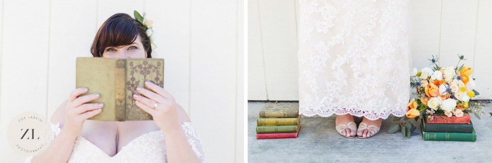 bridal details with books at vintage bookstore wedding