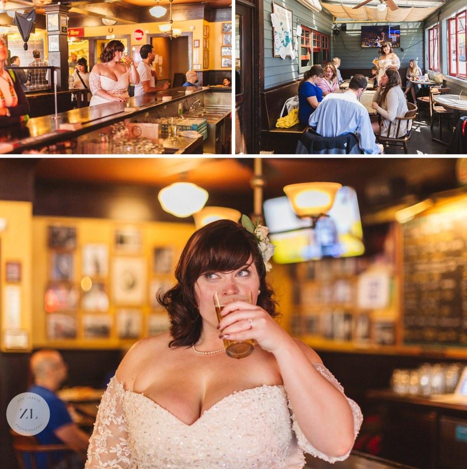 bride drinking ale in oakland