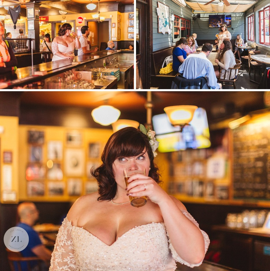 bride drinking ale in oakland