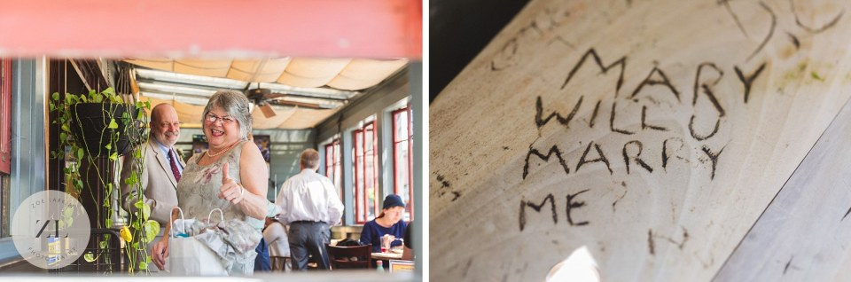 will you marry me scratched into pub table