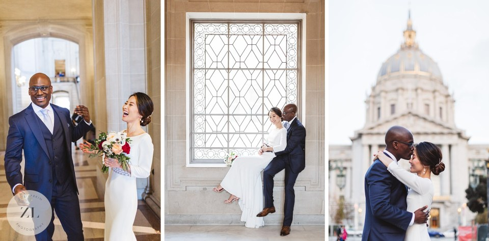 city hall wedding photography collage