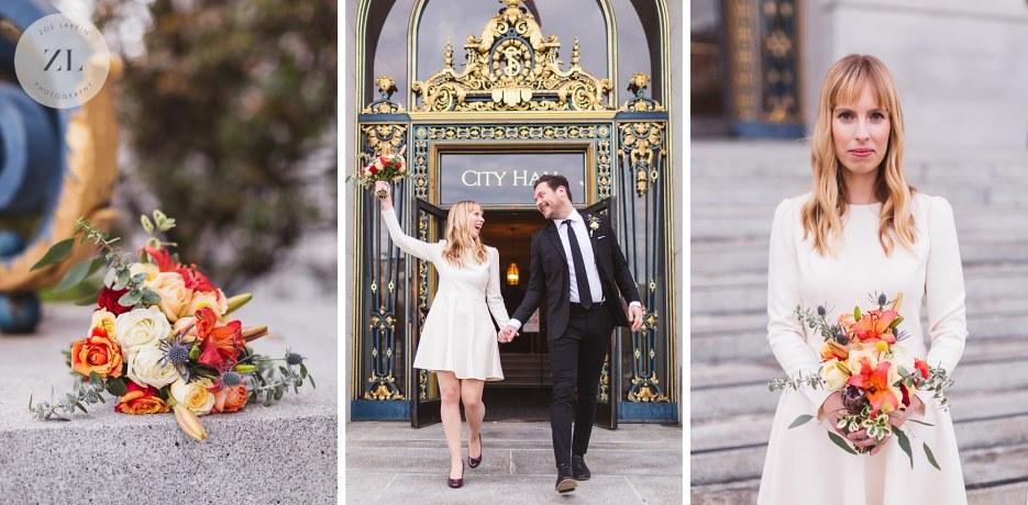 bridal bouquet for san francisco city hall wedding