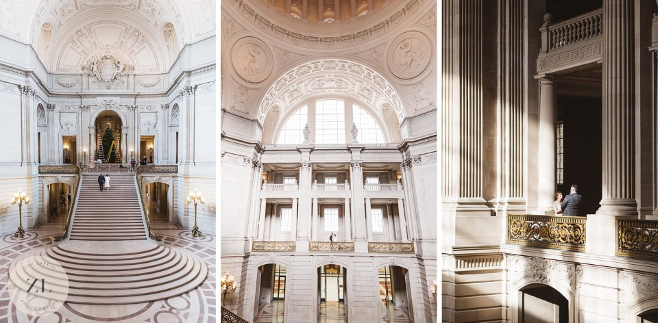 expansive shots of sf city hall