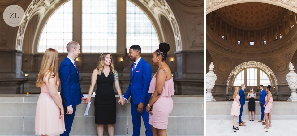 same sex couple during their San Francisco City Hall wedding ceremony. they had their friend officiate and managed to hold their ceremony on the 4th floor | Zoe Larkin Photography