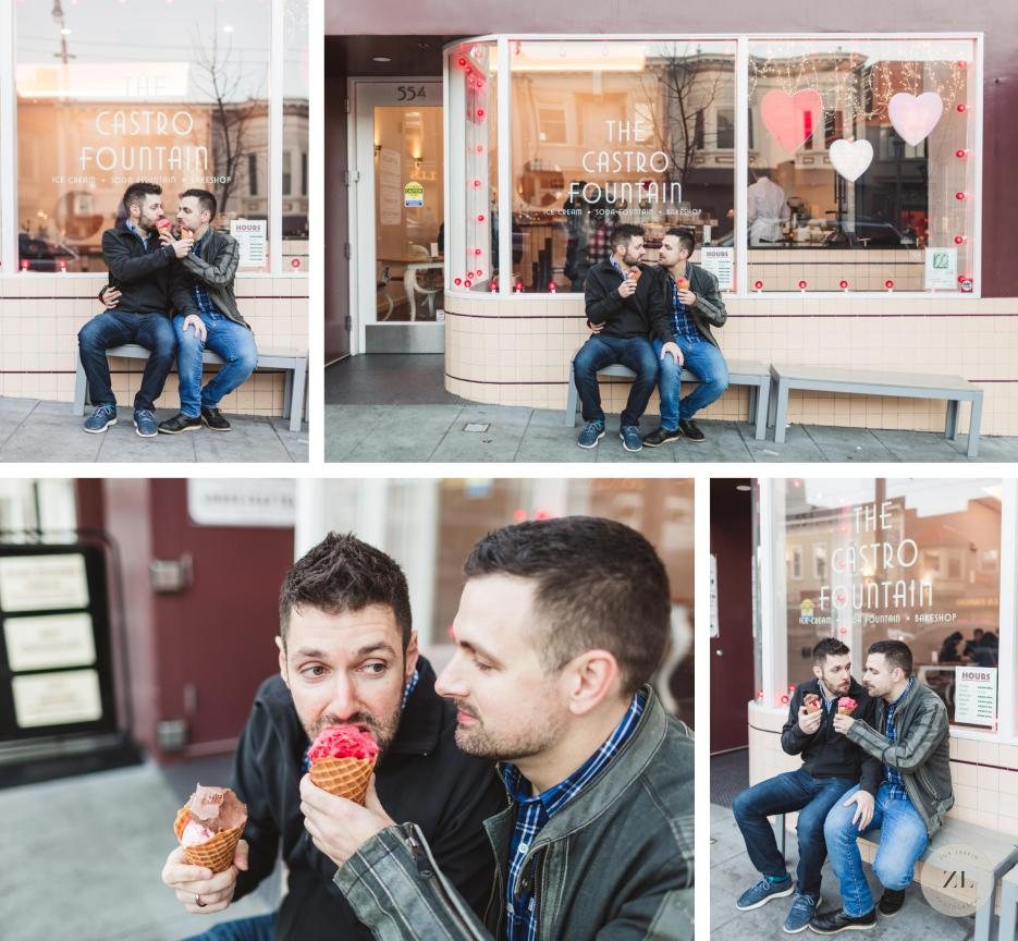 gay couple eating ice cream at castro fountain on engagement shoot